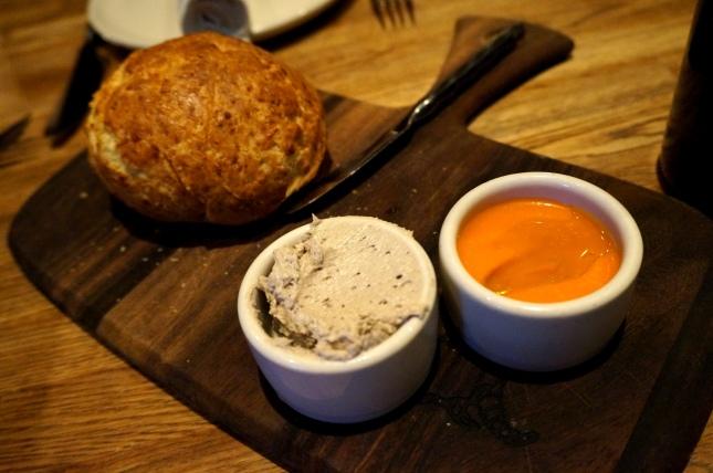 Gluten free bread with tomato aioli and mushroom butter